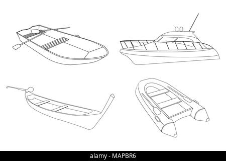Set of Boat: Speedboat, Pirogue, Raft and Boat icon. Outline Vector Illustration. - Stock Photo