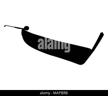 Pirogue flat icon and sign. Silhouette Vector Illustration. - Stock Photo
