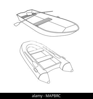 Raft and Boat flat icon. Outline Vector Illustration. - Stock Photo