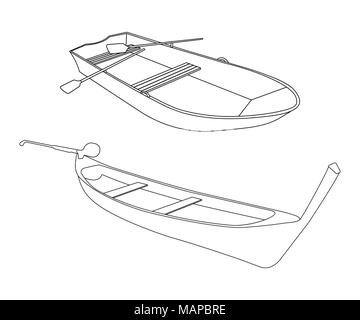 Boat and Pirogue flat icon. Outline Vector Illustration. - Stock Photo