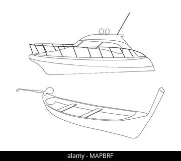 Speedboat and Pirogue flat icon. Outline Vector Illustration. - Stock Photo