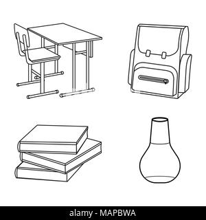 Set of schools supplies from student's backpack. Vector Outline illustration. Stock Photo