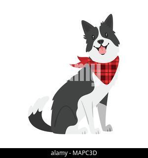 Vector cartoon style illustration of  farm animal - dog. Isolated on white background. - Stock Photo