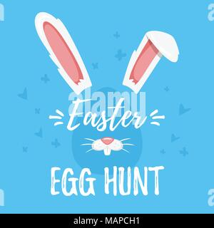 Vector cartoon style illustration of Easter day greeting card with cute bunny ears and nose on blue background. Ester egg hunt text. - Stock Photo