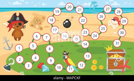 Vector cartoon style illustration of kids pirate board game template. Little bear searching for a treasure. For print. Horizontal composition. - Stock Photo
