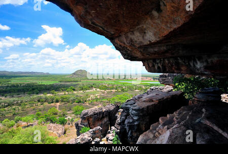 Overlooking the  Gunbalanya community from  the  towering escarpment Injalak Hill. Arnhem land.Northern Territory .Australia - Stock Photo