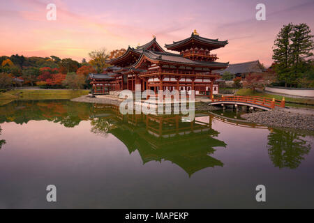 Phoenix Hall, Amida hall of Byodoin Buddhist temple amidst Jodoshiki teien, Pure Land garden pond. Beautiful sunrise scenery. Uji, Kyoto Prefecture, J - Stock Photo