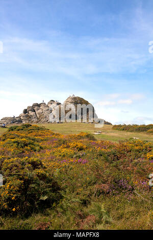 People walking up to, on, and around a massive rock formation called Haytor in Dartmoor, Devon, England. These rocks and its adjacent visitor center a - Stock Photo