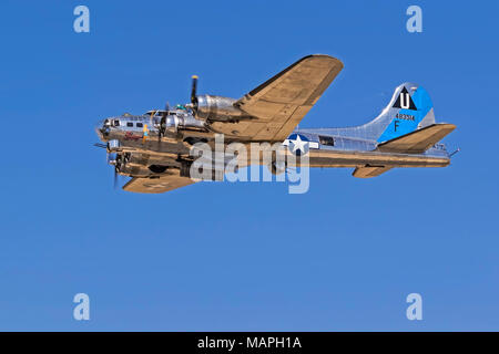 Airplane vintage WWII B-17 Flying Fortress - Stock Photo