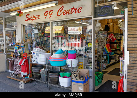 Household goods outside a dollar store in Vancouver, BC, Canada - Stock Photo