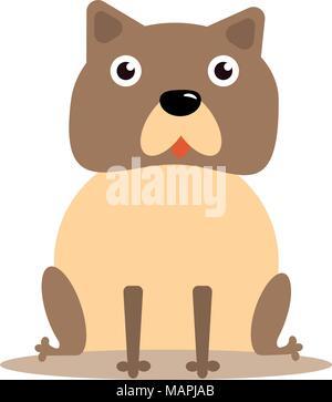 A happy English Bulldog sitting while looking forward - Stock Photo