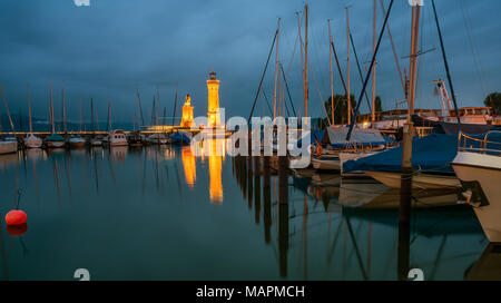 The famous harbour entrance of Lindau. - Stock Photo
