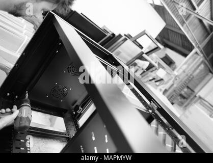 Product of leading technology data centre server cabinets used in the networking and ICT industry. - Stock Photo
