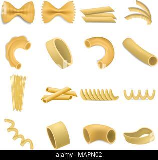 Fusilli pasta penne mockup set, realistic style - Stock Photo