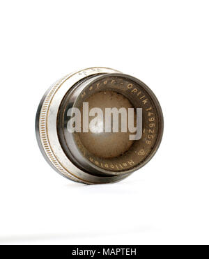 picture of a dirty and dusty german lens - Stock Photo