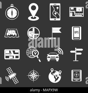 Navigation icons set grey vector - Stock Photo