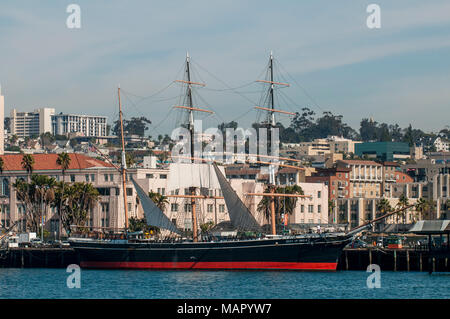 Star of India clipper ship (bark), Seaport Village, San Diego, California, United States of America, North America - Stock Photo