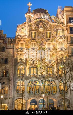 Casa Batllo, UNESCO World Heritage Site, modernist architecture by Antoni Gaudi on Paseo de Gracia Avenue, Barcelona, Catalonia, Spain, Europe - Stock Photo