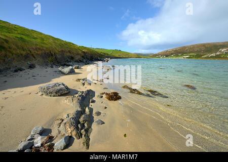 Sandy cove near Crookhaven, Wild Atlantic Way, Mizen Peninsula, County Cork, Munster, Republic of Ireland, Europe - Stock Photo