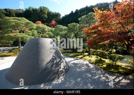 Sand cone called Moon Viewing Platform in the sand garden area of Ginkakuji (Silver Pavilion) Zen temple garden, Kyoto, Japan, Asia - Stock Photo