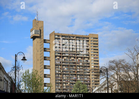 Trellick Tower, Apartments, Brutalist Architecture, architect Erno Goldfinger, Notting Hill, London, England, United Kingdom, Europe - Stock Photo
