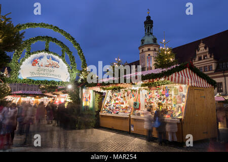 Christmas market in the Leipzig Market Place with the Old Town Hall Museum of City History, Marktplatz, Leipzig, Saxony, Germany, Europe - Stock Photo