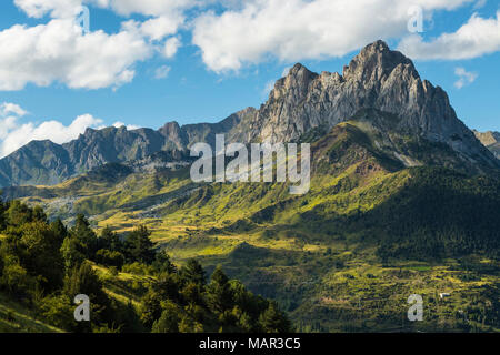 The 2282m Pena Foratata, not the highest but most iconic peak in the upper Tena Valley, Sallent de Gallego, Pyrenees, Huesca, Spain, Europe - Stock Photo