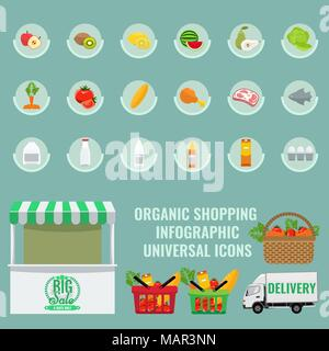 Organic Fruits and vegetables icons with solid flat color. - Stock Photo