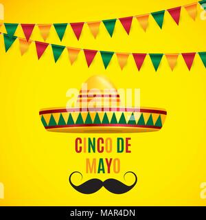 Cinco de Mayo holiday background. Vector illustration - Stock Photo