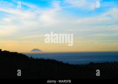 Stromboli Island. One of the eight Aeolian Islands. Seen from Sicily. - Stock Photo