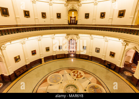 AUSTIN, TEXAS - MARCH 28, 2018 - View of the interior of the Texas State Capitol located in downtown Austin - Stock Photo