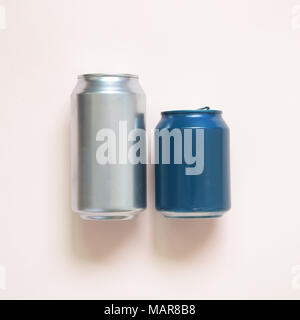 Beverage tin can isolated on pink background - Stock Photo