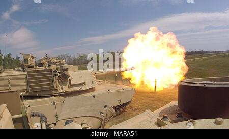 Troopers with Delta Tank Company, 6th Squadron, 8th Cavalry Regiment, 2nd Armored Brigade Combat Team, 3rd Infantry Division, fire the main gun round at a target during unit gunnery, March 29 at Fort Stewart, Ga. This gunnery marked the first time 2nd ABCT Troopers fired their newly received M1A1-SA Abrams Tanks since the brigade converted from a light to an armored brigade combat team. (Courtesy Photo) - Stock Photo