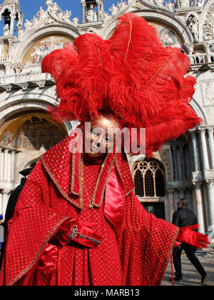 Woman in mask, Carnival at St Marks s Square, Venice, Italy - Stock Photo