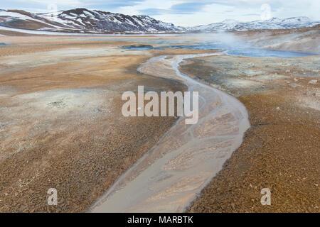 Fumarole field at Krafla Caldera, Namafjall, Iceland - Stock Photo