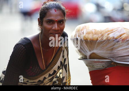 Bangalore, India - October 16, 2016: Portrait of an unknown Eunuch spotted this evening in Residency Road, Bangalore. - Stock Photo