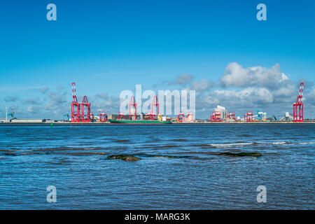 ferry terminal liverpool docks bootle from New Brighton Lighthouse on the Wirral near Birkenhead liverpool  north west england uk - Stock Photo