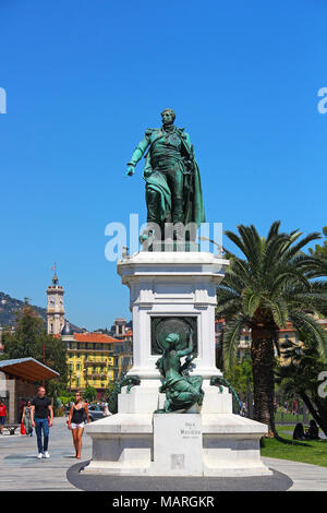 NICE, FRANCE - JUNE 23, 2016: Andre Massena statue on the Promenade du Paillon in downtown Nice - Stock Photo