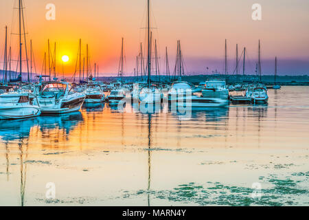 Boats and yachts on the quay in the seaport of Sozopol, Bulgaria. - Stock Photo