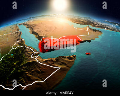 Sunrise above Yemen highlighted in red on model of planet Earth in space with visible country borders. 3D illustration. Elements of this image furnish - Stock Photo