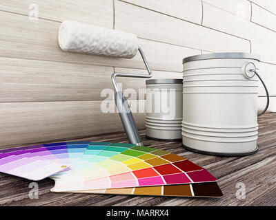 Paint cans, roller and paint cartela standing on old wooden floor. 3D illustration.
