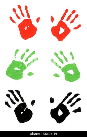 Child handprints made from vivid acrylic paint on white paper - Stock Photo