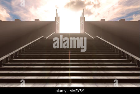 A depiction of the pearly gates of heaven open with the bright side contrasting with the duller foreground and a stairway leading up to it - 3D render - Stock Photo
