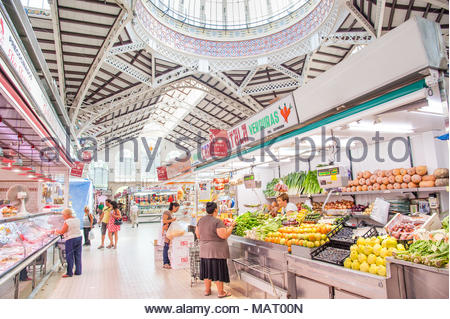 Fruit and vegetable stall in the Central Market, Valencia, Spain - Stock Photo