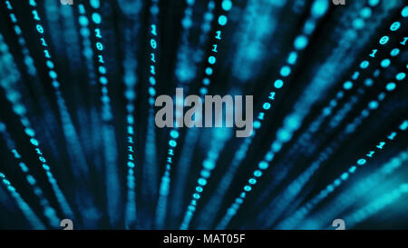 Vertical lines of binary code in 3D space with very shallow depth of field and a blue, grainy colour treatment. - Stock Photo
