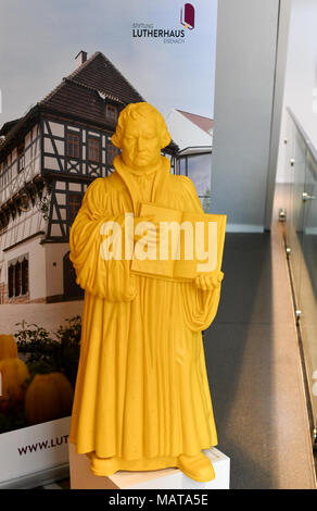 28 March 2018, Eisenach, Germany: A big Lego figure depicting Martin ...