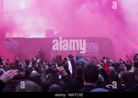Anfield, UK. 4th Apr, 2018. Manchester City coach is damaged as it arrives at Anfield for the Quarter Final 1st leg of the Champions League Credit: ken biggs/Alamy Live News - Stock Photo