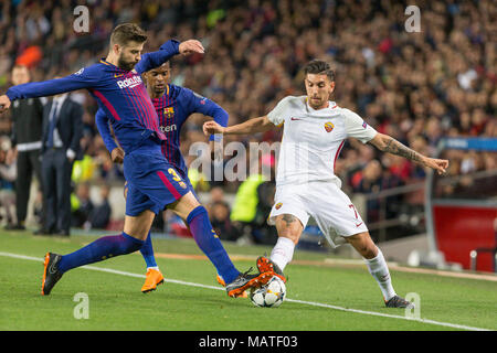 FC Barcelona defender Gerard Pique (3) and AS Roma midfielder Lorenzo Pellegrini (7) during the UEFA Champions League match between FC Barcelona and AS Roma at Camp Nou Stadium corresponding of Quarter-finals, First leg on April 4, 2018 in Barcelona, Spain. (Credit: Mikel Trigueros / Urbanandsport / Cordon Press) - Stock Photo