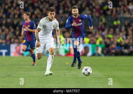 AS Roma forward Diego Perotti (8) during the UEFA Champions League match between FC Barcelona and AS Roma at Camp Nou Stadium corresponding of Quarter-finals, First leg on April 4, 2018 in Barcelona, Spain. (Credit: Mikel Trigueros / Urbanandsport / Cordon Press) - Stock Photo