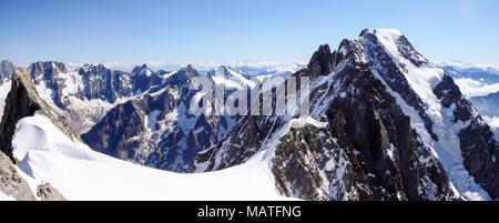 panorama view of a mountain landscape in the French Alps with the summit Grand Jorasses in the center - Stock Photo
